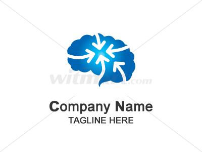 大脑 箭头 智慧 汇集 学习 logo