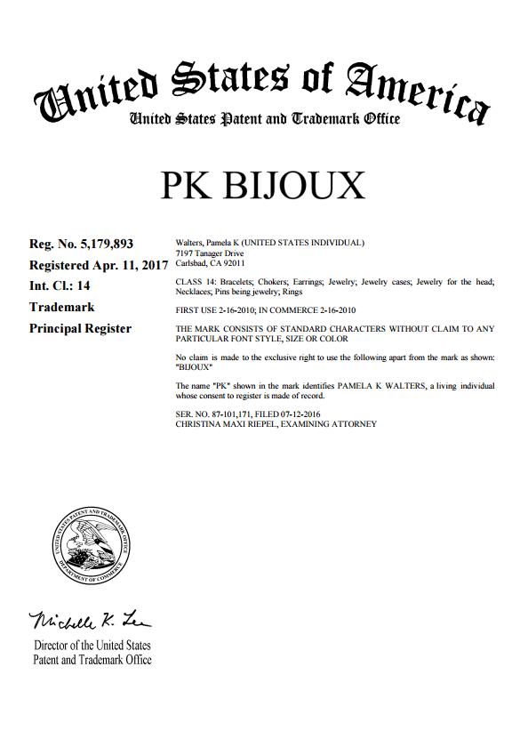 PK Bijoux trademark certificate